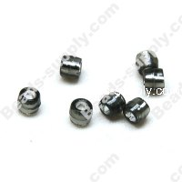 Bead,resin with silver-color foil, Black, 4*4mm