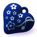 Beads,13x34x35mm satin rose heart beads,blue rubberized beads,sold of 100 pcs per pkg