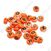 Beads,solid acrylic Alphabet Beads ,4x7mm,orange ,assorted letters