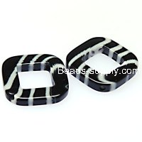 Beads,stripes damasks resin square beads ,4x22x22mm ,black color