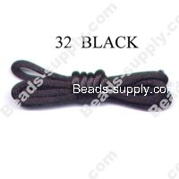 Cord, Bugtail, satin, black, 1.2mm.