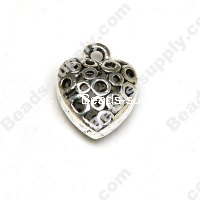 Filligree Heart Charm ,Antique Silver, 8*15*20mm
