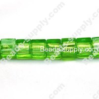 Glass Silver Foiled Cubic Beads 10x10mm