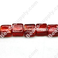 Glass Silver Foiled Square Beads 12x12mm,Red color