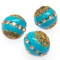 Indonesia Jewelry Beads, Drum shape,antique gold with cup chains rhinestone,aquamarine color