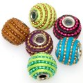 Indonesia Jewelry Beads, Drum shape,handmade beads with waxy cord/ball chain,mixed