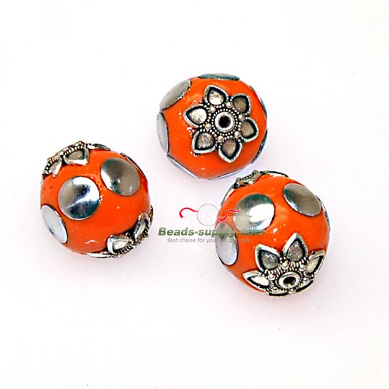 Indonesia Jewelry Beads, round shape,orange,handmade beads,sold of 10 pcs - Click Image to Close