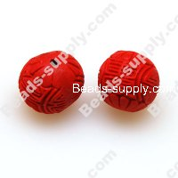 Lacquer carving Beads ,15mm ,Red