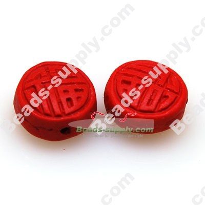 Lacquer carving Beads ,7*15mm ,Good Fortune - Click Image to Close