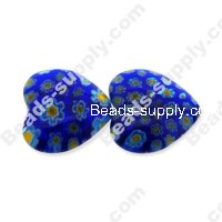 Millefiori Glass Multi-Flower Heart Radian Beads 20 mm