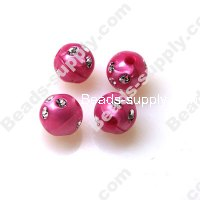 Pearl effect Beads , Silver accent Beads ,Round Beads 10mm ,Fuch