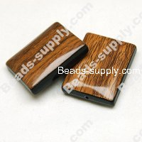 Wood Grain Plastic Beads 25mm*32mm,Brown