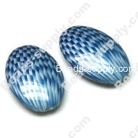 Acrylic Flat Oval Beads, Spray Painted Blue, 34*26*11mm