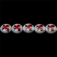 Bead, lampworked glass, red/white, 12mm double-sided flat round with Jingling Bell design