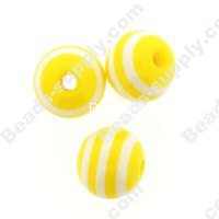 Bead, resin, Yollow/White, 8mm round.