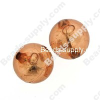 Bead, resin with silver-color foil, Brown, 20mm round