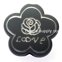 Beads,10x24mm satin flower beads,grey rubberized beads,sold of 100 pcs per pkg