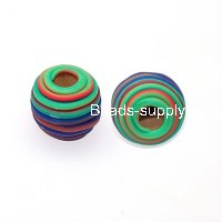 Beads,Handmade round spiral fimo beads,15mm round fimo beads,mixed