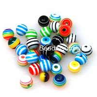 Beads,Resin Beads, assorted colors, 6mm round Laminated Beads