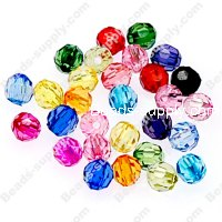 Beads,transparent acrylic facted round beads,8mm