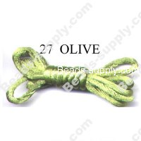 Cord, Bugtail, satin, olive, 2mm.