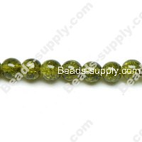 Cracked Round Bead 12mm ,Olivine