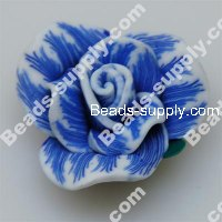 Fimo Rose Beads 30mm,Blue