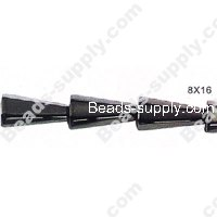 Hematite Faced Taper Beads 8x16 mm