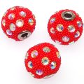 Indonesia Jewelry Beads, Drum shape,handmade with glass seed beads and rhinestone,red color