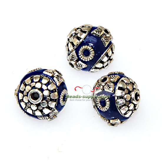Indonesia Jewelry Beads, blue,handmade beads,sold of 10 pcs - Click Image to Close