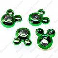 Large hole beads,mickey shape green plated,large hole beads