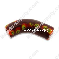 Millefiori Glass Angle Tube Beads 12x40 mm