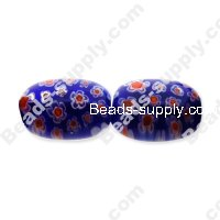 Millefiori Glass Multi-Flower Olive Beads 13x18 mm