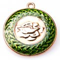 Pendants,2x31mm Rose round pendant,golden plating,olivine enamel pendant,Sold of 10 pieces per pkg