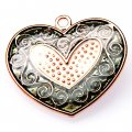 Pendants,2x32x35mm heart pendant,golden plating,black enamel pendant,Sold of 10 pieces per pkg