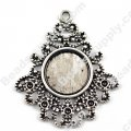 "Pendants,33x29mm Cameo Cabochon Base Setting Pendants£¬Antique ""pewter"" Plated,Sold 100 Pcs Per Lot"