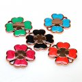 Pendants,assorted color enamel flower shape golden pendant