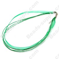 Ribbon with waxy cord necklace , Green