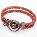 Trendy fashionable noosa braided genuine leather bracelets,red color