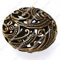 Vintage Filligree beads ,Antique bronze flat round beads, 26x15mm