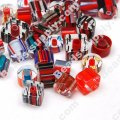 Bead mix, cane glass,red,color, assorted size/shape. Sold per pkg of 50g