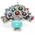 Pendants,Antique Silver flower basket pendant,multi-color crystal with blue Turquoise .Sold of 30 pieces