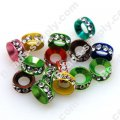 Strass Roundel Beads 10mm with Clear Crystal ,Assorted Colors